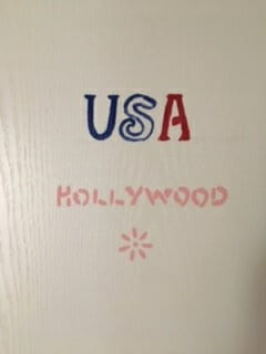 Image of a door with USA painted on it.