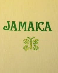 Image of a door with the word Jamaica and a butterfly painted on it.